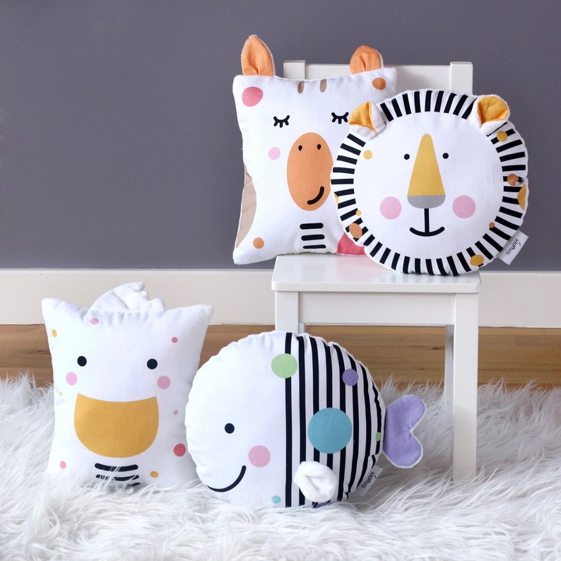 Safari Nursery Cushions Lion Cushion Giraffe Cushion Cute image 0