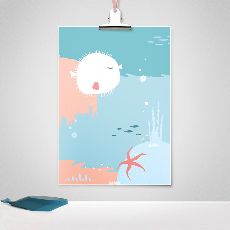 Nursery art nursery prints nursery decor sea life marine image 0