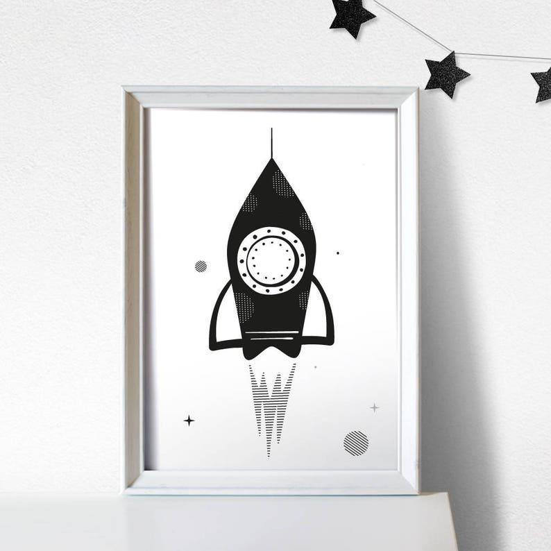 Rocket Print Rocket Nursery Print Rocket Wall Art Space image 0