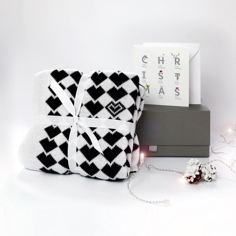 Blanket box set Christmas gift for kids Large knitted baby image 0