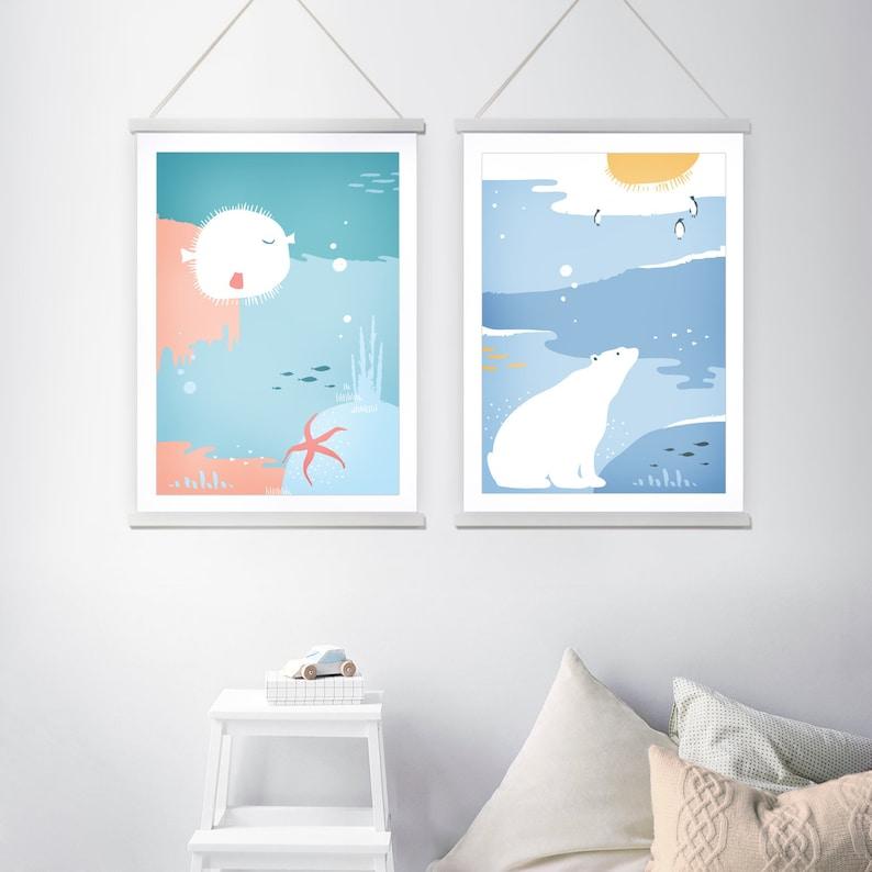 Set of nursery prints kids room art nursery art decor image 0