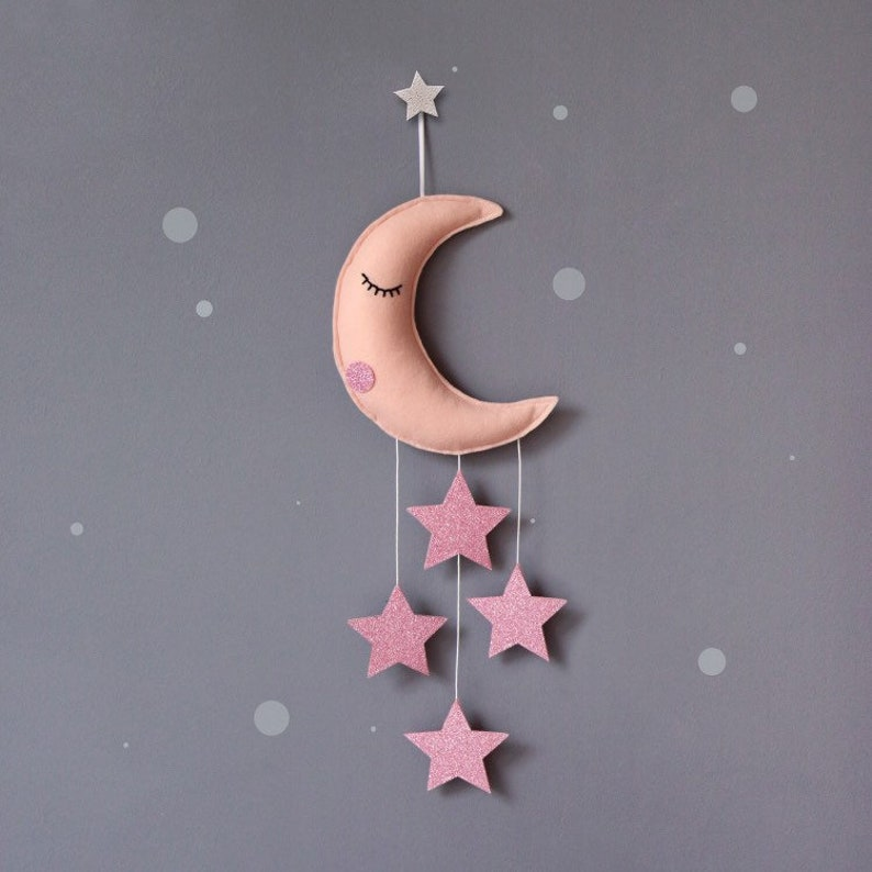 Sleepy Moon baby mobile Pink nursery decor girls nursery image 0