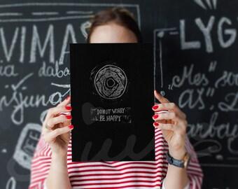 HandMade LinoCut Print, Dunot Worry Be happy Lino print, Original A4 lino print, Limited edition Lino print, Handprinted, Black & white