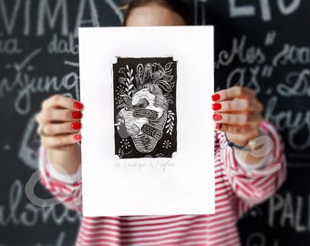 Hand Made Heart LinoCut Print, Heart blooming Lino print, Original A4 lino print, Limited edition Lino print, Handprinted, Black & white