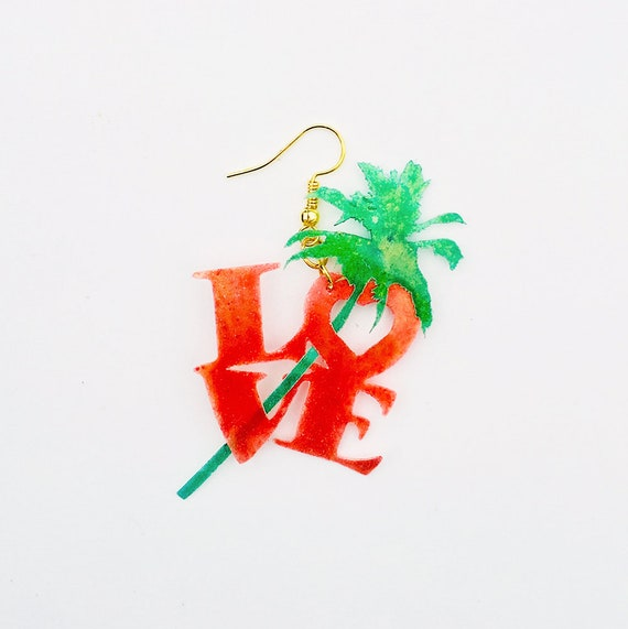 Tropical love earrings - Polyamory earrings - Trending jewelry - Cool palm jewelry - Rockabilly Jewelry - Novelty earrings - Love earrings