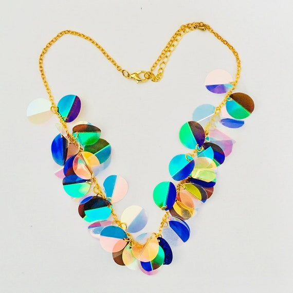 Shells at the end of the rainbow necklace - Hologram Sequin jewelry - Hologram necklace - Boho necklace - Festival neckpiece - Gift for her