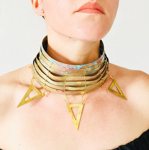 J'adore necklace - Tribal necklace - Jewelry & bijoux triangles design - Handmade gold tribal choker - Unique jewellery - Gift for her
