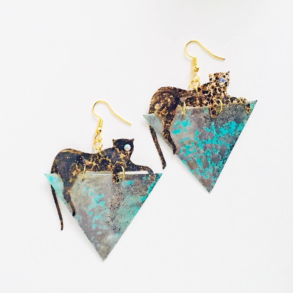 Novelty earrings Jaguar jewelry Rockabilly Jewelry Jaguar triangle earrings Animal print Jaguar drops earrings Trending jewelry