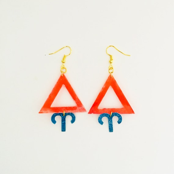 Aries - Zodiac geometric earrings - Fire symbol earrings - Aries astrological earrings - Astrology earring - Triangle earring - Gift for her