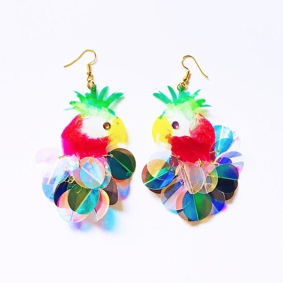 Palm Cockatoo earrings - Feather airy earrings - Feather sequin earrings - Trending jewelry - Parrot jewelry - Rockabilly Jewelry - Birds