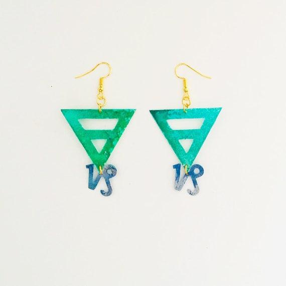 Capricorn - Zodiac geometric earrings - Earth symbol earrings - Capricorn astrological earrings - Triangle astrology earring - Gift for her