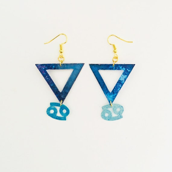 Cancer - Zodiac geometric earrings - Water symbol earrings - Cancer astrological earrings - Triangle astrology earring - Gift for her
