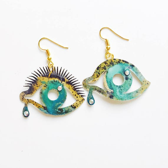 f561c3d7dc12 Ojos azules pendientes Joyas de inspiración Dalí Joyería
