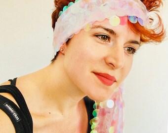 Mermaid Dreams Scarf - Millie Bobby Brown Coachella sequin - Hologram Clothing - Bohemian Scarf - Women Scarf - Festival Wrap - Gift Her
