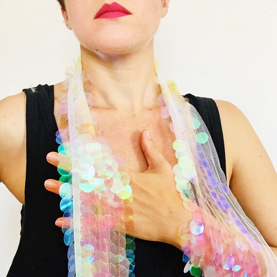 Iridescent Unicorn Scarf - Millie Bobby Brown Coachella - Hologram glitter - Bohemian Scarf - Women Scarf - Festival Wrap - Gift Her