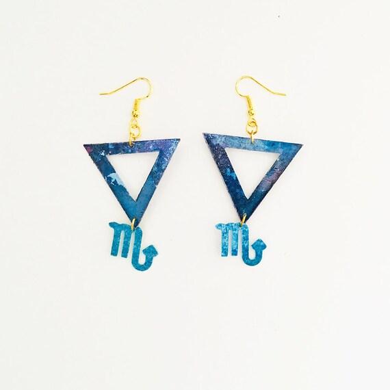 Scorpio - Zodiac geometric earrings - Water symbol earrings - Scorpio astrological earrings - Triangle astrology earring - Gift for her