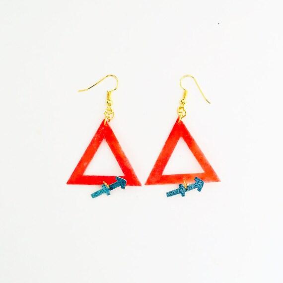 Sagittarius - Zodiac geometric earrings - Fire symbol earrings - Sagittarius astrological earrings - Astrology earrings - Gift for her