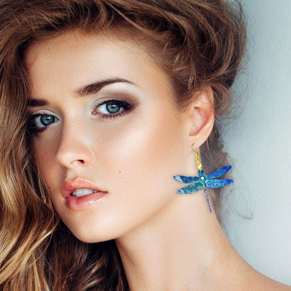 Blue dragonfly earrings