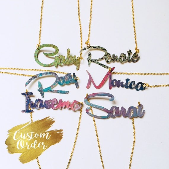 Your name necklace - Your word custom necklace - Bachelorette party gift - Team bride - Bridesmaids gift - Custom jewelry - Gift for her