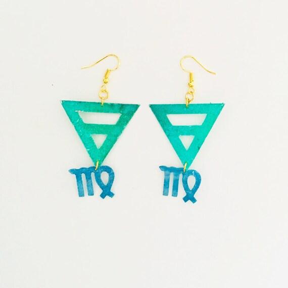 Virgo earrings - Zodiac geometric earrings - Earth symbol earrings - Virgo astrological earrings - Triangle astrology earring - Gift for her