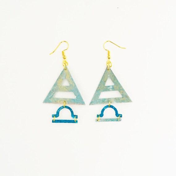 Libra - Zodiac geometric earrings - Air symbol earrings - Libra astrological earrings - Triangle astrology earring - Gift for her