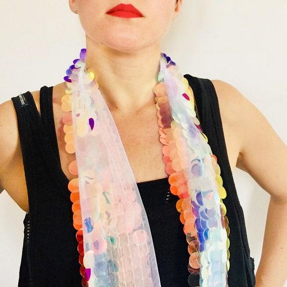 Unicorn Dreams Scarf - Millie Bobby Brown Coachella sequin  - Hologram glitter - Bohemian Scarf - Women Scarf - Festival Wrap - Gift For Her