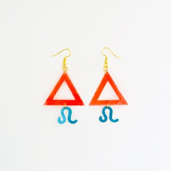 Leo - Zodiac geometric earrings - Fire symbol earrings - Leo astrological earrings - Astrology earring - Triangle earring - Gift for her