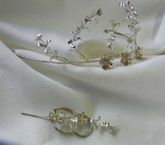 German Myrtle crown, silver Wedding Myrtle Tiara,