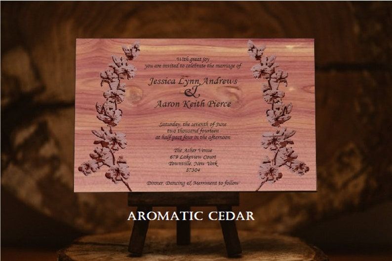 12 Wooden Invitations - Laser Cut /& Engraved 36 Choices of Wood Fully Customized 2.50 Each Spring Branches Invitation