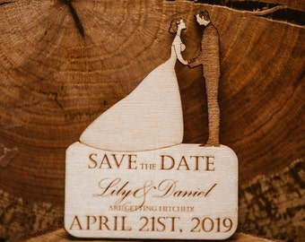 Bride & Groom - 12 wooden Save the Dates (1.25 Each) - Laser Cut and Engraved - 36 Choices of Wood - Fully Customized - Magnetic