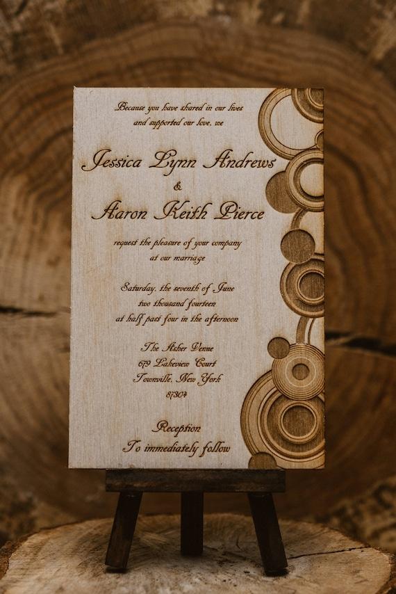 modern circles invitation 12 wooden invitations 2 50 each etsy
