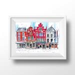 Delft, Markt. Marker Urban Sketching illustration. Home wall fine art print.
