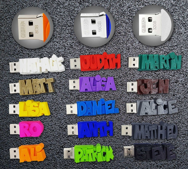 Individueller persönlicher USB Stick Datenstick und Farbe nach Wahl – 8GB –  einzigartiges Geschenk