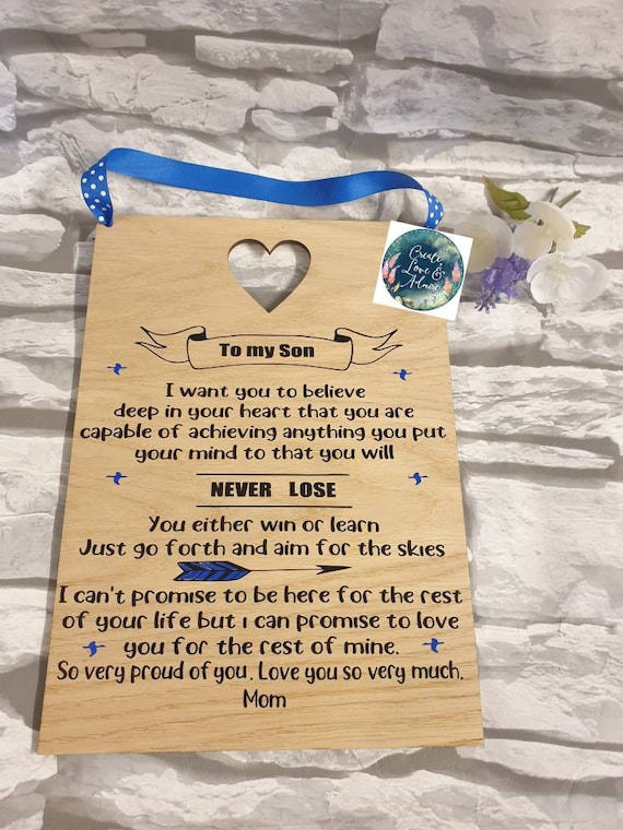 Incredible Mother Son Gift Father Son Sign Wooden Quote Plaque Son Etsy Personalised Birthday Cards Beptaeletsinfo
