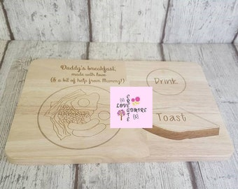 Personalised Chopping Board Breakfast Board Christmas Gift Dad Brother Uncle Grandad Breakfast Gift Kitchen Gift Wooden Board Gifts for Men
