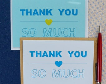 Thank you card set of 8 Note cards Wedding thank you cards Wedding cards for wedding Any occasion card Blank thank you card Thank you's