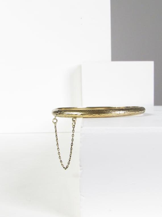 Etched Gold Vermeil 925 Sterling Silver Bangle Bra