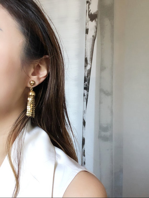 Circle Tassel Gold Dangle Earrings,Vintage Gold Ea