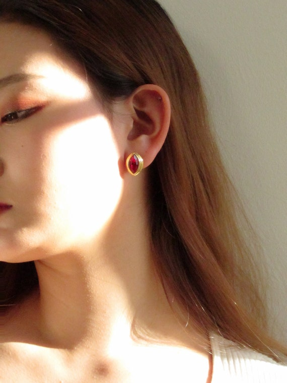Monet Marquise Red Jewel Gold Pierced Earrings   … - image 2