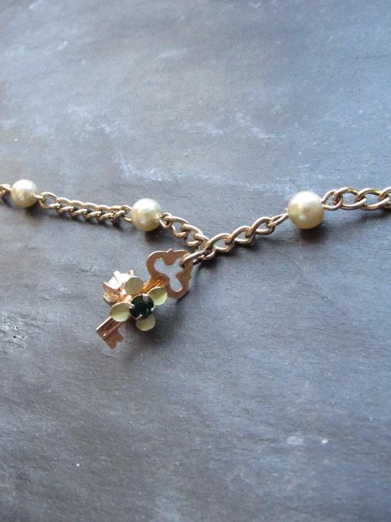 Victorian Key Pearl Bead Gold Anklet | Vintage Gol