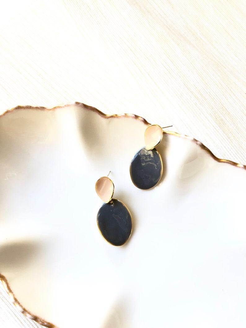 Enamel Earrings Modern Earrings Geo Earrings Stud Earrings Enamel Jewelry Two Oval White Grey Enamel Gold Dangle Earrings