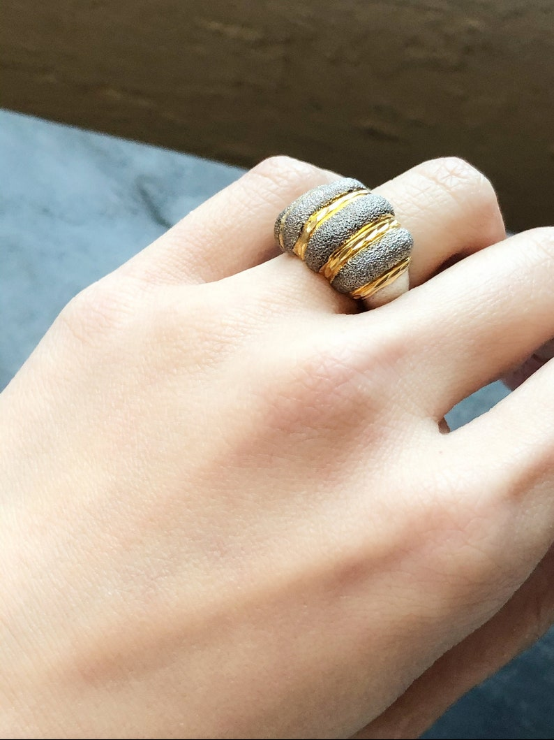Wedding Ring Vintage Jewelry Promise Ring Cocktail Ring Vintage Silver Ring Thailand Gold Wash Stripe Silver Cocktail Ring