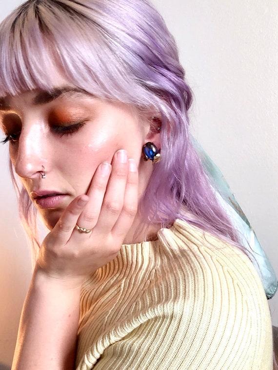 Purple Grape Glass Gold Clip On Earrings, Vintage