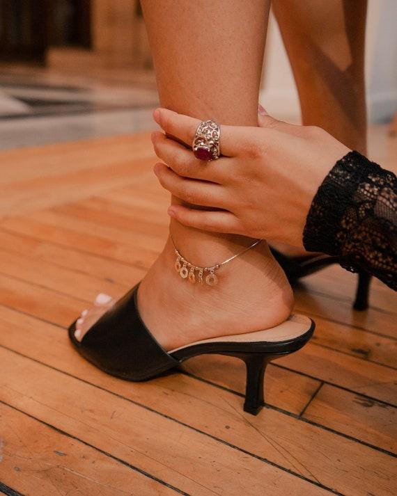 Tiny Sequins 925 Sterling Silver Anklet, Vintage J