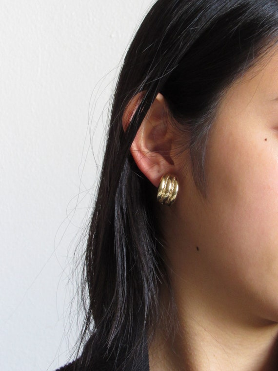 80s Givenchy Striped Gold Half Hoop Earrings, Vint