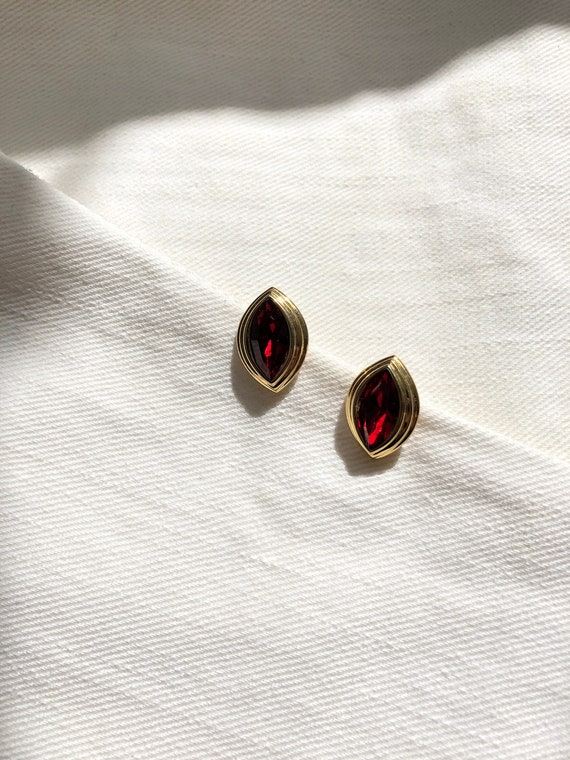 Monet Marquise Red Jewel Gold Pierced Earrings   … - image 1