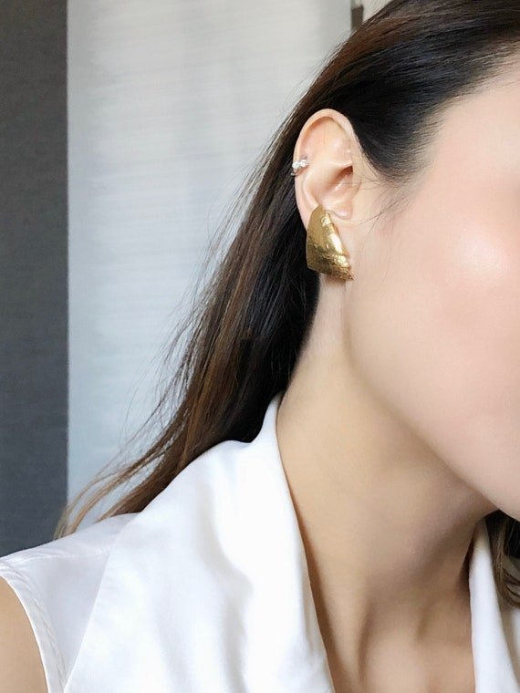 Monet Triangle Rugged Shield Gold Pierced Earring… - image 1