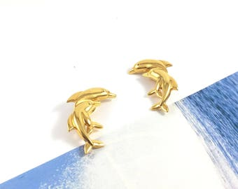 Vintage 80s Half Moon Gold Dolphin Twins Clip-on Earrings | Gift for Her | Dolphina Earrings | Dolphin Jewelry