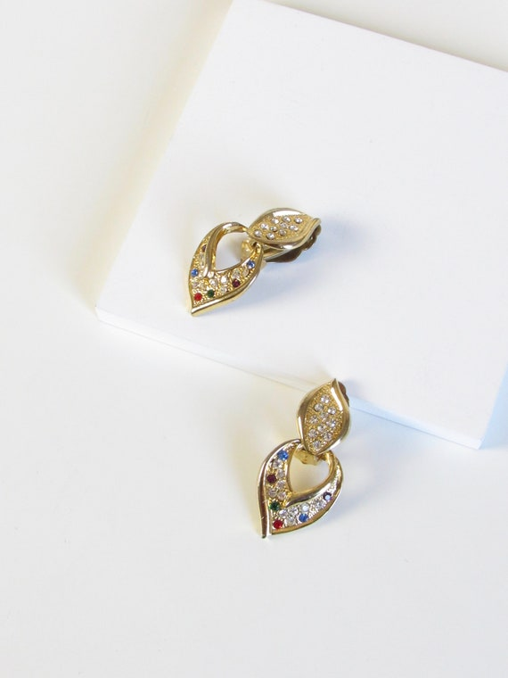 Victorian Multicolor Rhinestone Gold Dangle Earrin