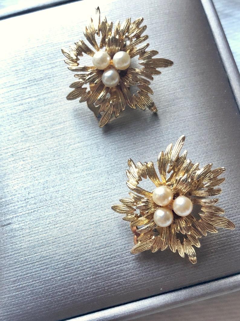 Wedding Earrings Cluster Earrings Vintage Jewelry Blossom Pearl Gold Clip On Earrings Vintage Pearl Earrings Wedding Jewelry